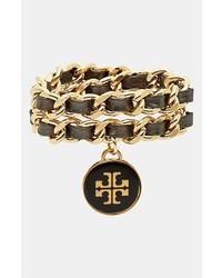Tory Burch Leather Woven Chain Wrap Bracelet Black Gold
