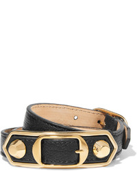 Balenciaga Triple Tour Textured Leather And Gold Tone Bracelet Black