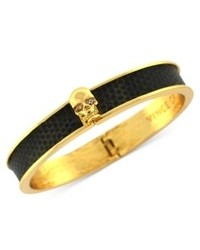 Vince Camuto Bracelet Gold Tone Skull And Dark Olive Embossed Leather Hinge Bracelet