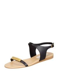 Stella mccartney logo plaque flat sandals black medium 424064