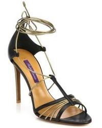 Ralph Lauren Collection Blaine Leather Metallic Leather Ankle Tie Sandals