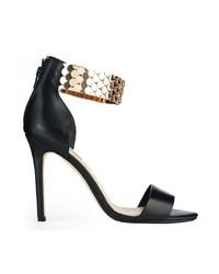 Dune Huffy Gold Strap Black Heeled Sandals