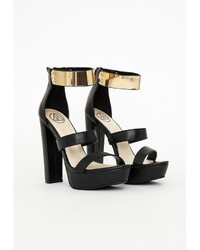 Missguided Gold Ankle Strap Platform Heeled Sandals Black  Where
