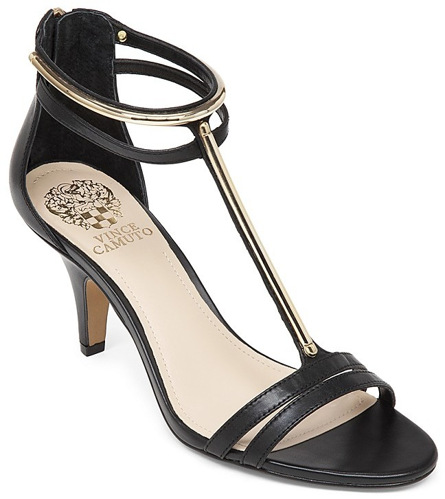 11b141c9c47d ... Black and Gold Leather Heeled Sandals Vince Camuto Open Toe T Strap  Sandals Mitzy High Heel ...
