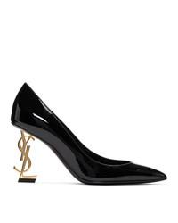 Saint Laurent Black And Gold Opyum 85 Heels