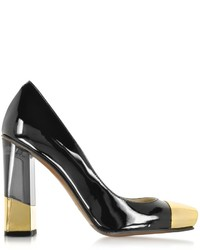 L'Autre Chose Black And Gold Patent Leather Pump