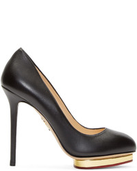 Charlotte Olympia Black Gold Leather Dotty Pumps