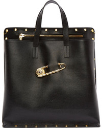 Black and Gold Leather Tote Bag