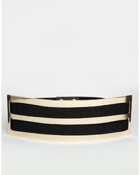 Asos Collection Waist Belt With Wide Plate And Double Elastic Detail