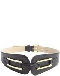 Fashion Focus Black Pebbled Leather Tapered Waist Belt