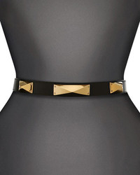St. John Collection Narrow Leather Waist Belt With Metal Pyramid Studs And Back Collar Button Closure