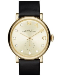 Baker crystal index leather strap watch 36mm medium 327496