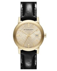 Burberry Check Stamped Round Leather Strap Watch 34mm Black Gold