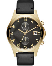 Marc by Marc Jacobs Chronograph Slim Black Leather Strap Watch 38mm Mbm1398