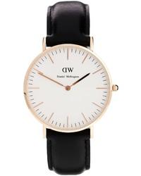Daniel Wellington Classic Black Sheffield Rose Gold Rim Large Watch