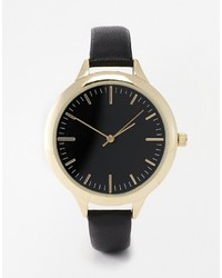 Asos Collection Leather Strap Watch With Black Dials