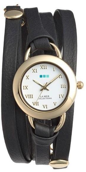 La Mer Collections Saturn Leather Wrap Bracelet Watch 22mm