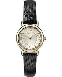 Timex Dress Scratch Proof Crystal Leather Strap Quartz Watch