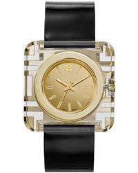 Tory Burch Izzie Leather Strap Golden Watch Black