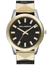 Karl Lagerfeld Labelle Stud Leather Strap Watch 36mm