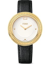 Fendi My Way Yellow Gold Tone Watch With Leather Strap And Fur Glamy 36mm