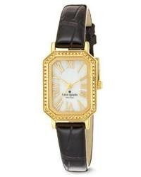Kate Spade New York Hudson Pav Goldtone Stainless Steel Crocodile Embossed Leather Strap Watch