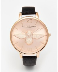 Burton Olivia Bee Face Leather Strap Watch