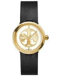 Tory Burch Reva Logo Dial Leather Strap Watch 28mm
