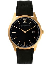 Larsson & Jennings Saxon Black Organic Leather Strap Watch