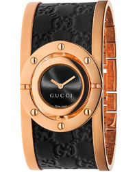 Gucci Swiss Twirl Black Ssima Leather And Rose Gold Tone Pvd Stainless Steel Bangle Bracelet Watch 24mm Ya112438