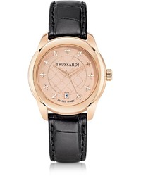 Trussardi T01 Lady Rose Gold Stainless Steel And Black Leather Watch
