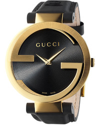 Gucci Unisex Swiss Interlocking Black Leather Strap Watch 37mm Ya133312