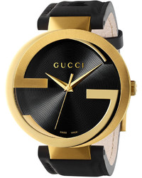 Gucci Unisex Swiss Interlocking Latin Grammy Special Edition Black Leather Strap Watch 42mm Ya133208
