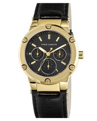 Vince Camuto Round Multifunction Leather Strap Watch 38mm Black Gold
