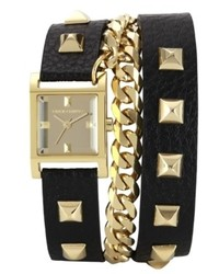 Vince Camuto Watch Gold Tone Pyramid Stud And Chain Black Leather Wrap Around Strap 22mm Vc 5088gmbk