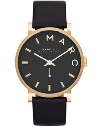 Marc by Marc Jacobs Watch Baker Black Textured Leather Strap 37mm Mbm1269