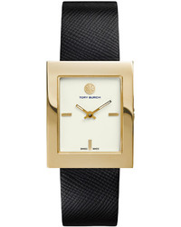 Tory Burch Watches Buddy Classic Leather Strap Golden Watch Black