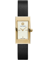 Tory Burch Watches Buddy Signature Leather Strap Golden Watch Black