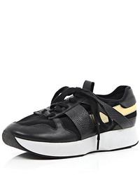 River Island Black Leather Metallic Contrast Sneakers