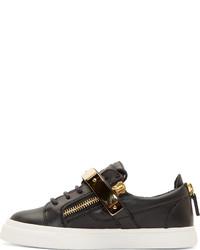5eace665c0322 ... Giuseppe Zanotti Ssense Black Leather Gold Low Top Birel Sneakers ...