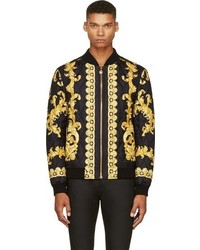 Black silk baroque bomber jacket medium 94183