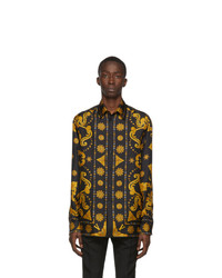 Versace Black And Gold Silk Barocco Western Shirt