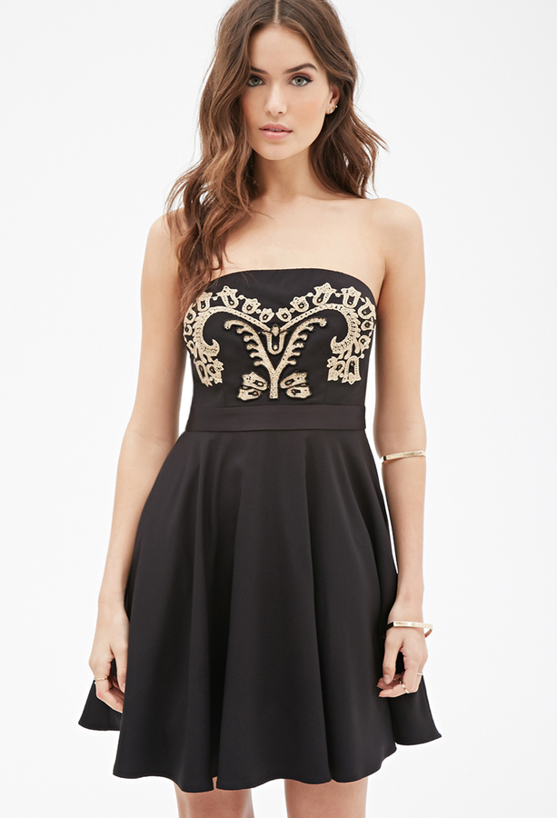 Forever 21 Contemporary Baroque Embroidered Fit Flare Dress Where