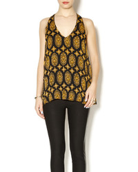 Black and Gold Print Sleeveless Top