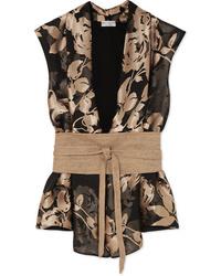 Brunello Cucinelli Flocked Chiffon And Cotton Jersey Blouse