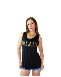 Soho Girl Ballin Sequin Print Top Black