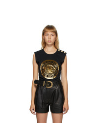 Balmain Black 3 Button Coin Tank Top