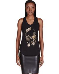 Alexander McQueen Black Embellished Abstract Skull Tank Top