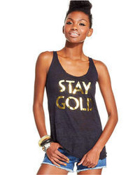 Pretty Rebellious Juniors Foil Print Burnout Tank Top