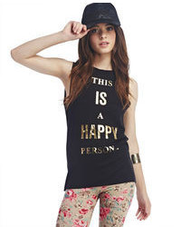 Wet Seal Happy Person Muscle Tank